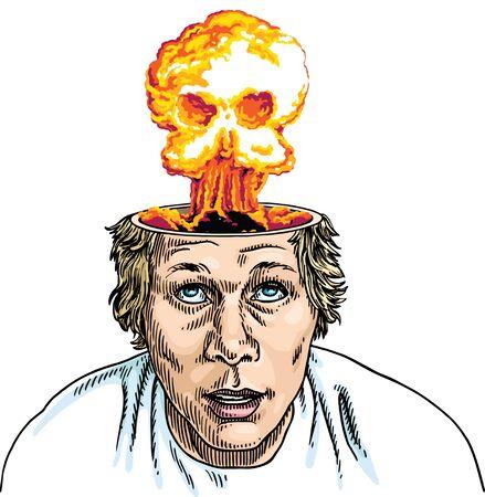 Brain Explosion Skull Stock Vector - 9289065