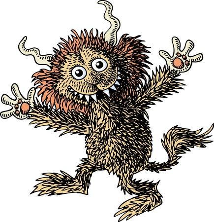 tanzen cartoon: Behaarte Monster Illustration