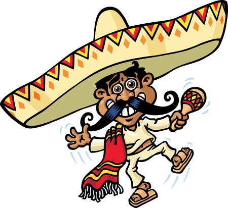 mexican sombrero: Mexican Man Music Illustration