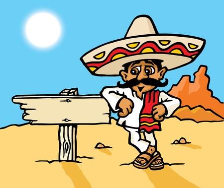 caricatura mexicana: Signo de hombre mexicano Vectores