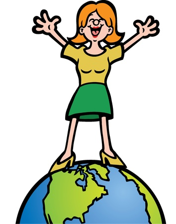 Woman On Top of the World Vector