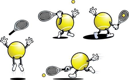 pelota caricatura: Tenis Guy Vectores