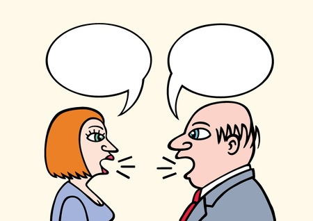 man yelling: Business Talk Illustration