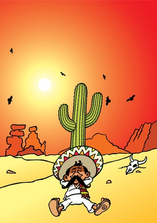 desert sunset: Sleeping Mexican Illustration