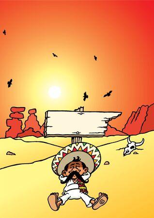 Sleeping Mexican Illustration
