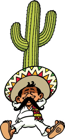 cactus desert: Sleeping Mexican Illustration