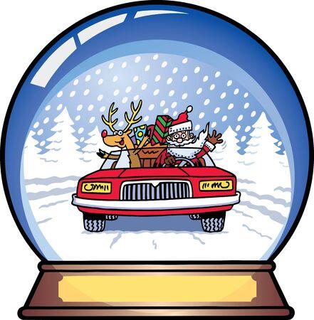 Santa Snow Globe Vector