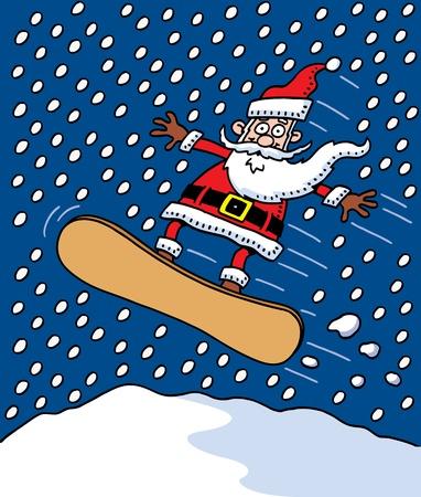 Snowboarding Santa Stock Vector - 10120510
