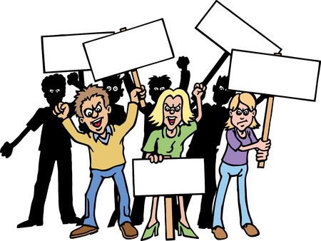 Group of protesters. Vector