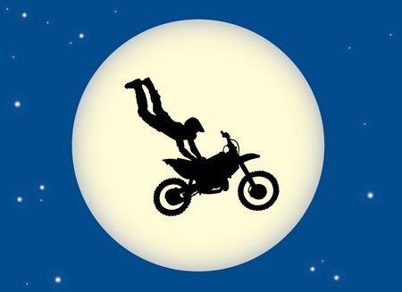 Motorbike stunt moon Stock Vector - 10501551