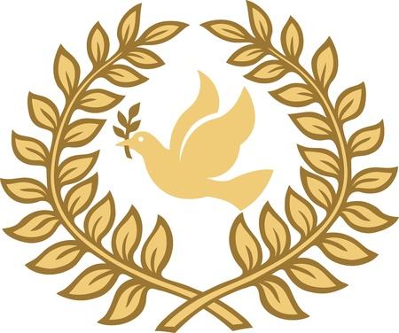 paloma caricatura: hojas de laurel paloma Vectores