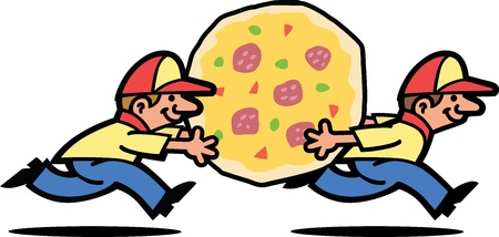 Pizza Delivery Guys Vector