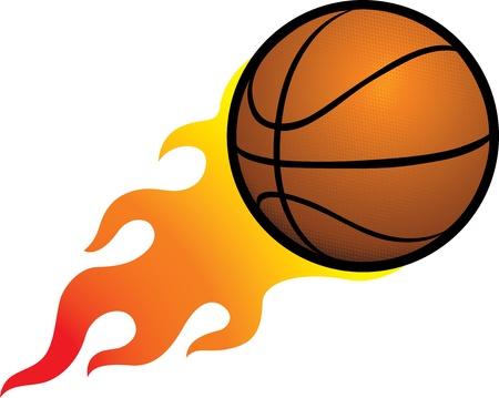 Flaming Basketball Vektorové ilustrace