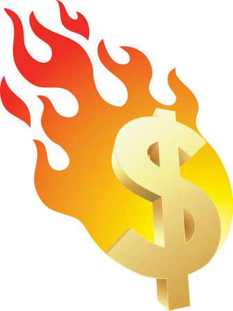 Flaming Money Stock Vector - 10657307