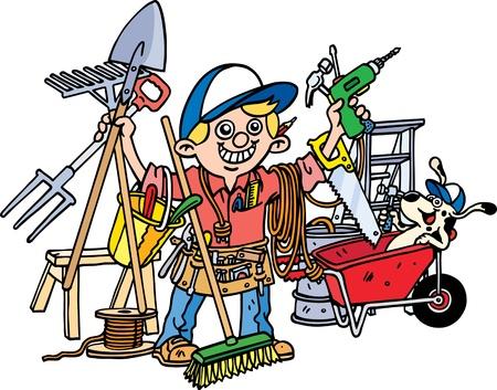 tradesman: Busy Builder Illustration