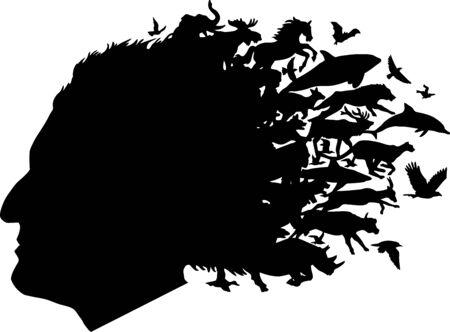 distorted: Animal Head Illustration