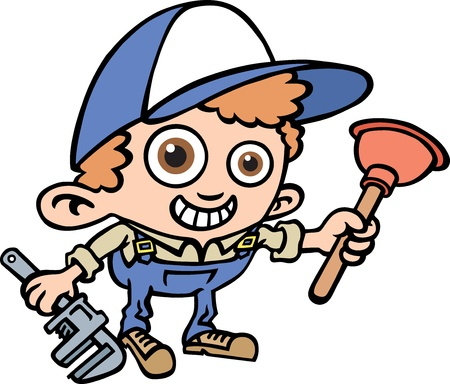 plumber with tools: Fontanero Vectores