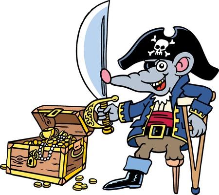 rata caricatura: Pirata Vectores