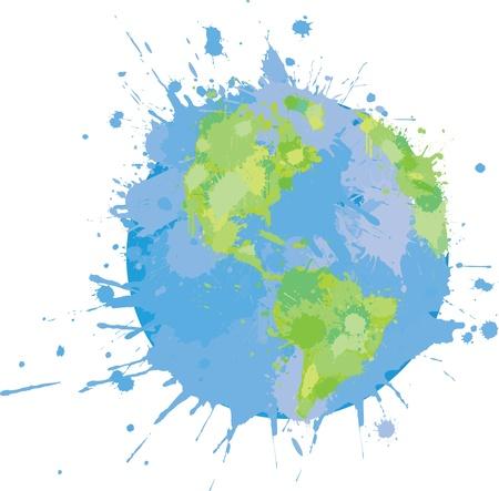 wereldbol groen: Splattered Wereld Graffiti