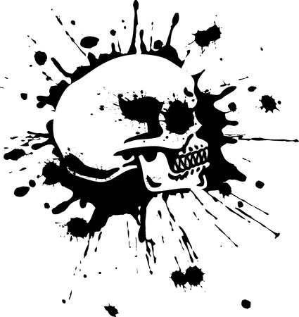 tete de mort: Splatter Skull Illustration