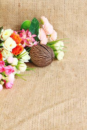 sack background: flowers fresh from nature on sack background.