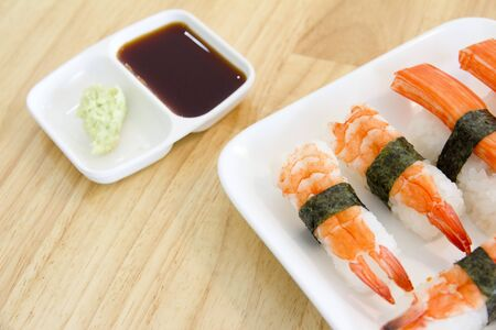 japanese meal: Classic japanese meal - sushi with differend kinds of fresh.