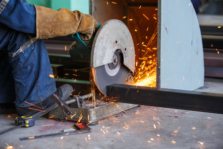 cutting: cutting metal by cutting wheel Stock Photo