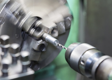 drilling and turning mold part by turning and lathe machine