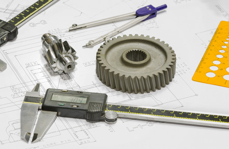 operator design and inspection automotive parts by vernier Stock Photo
