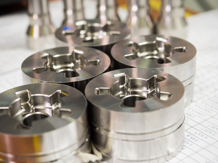 operator inspection dimension of high precision cnc turning parts 写真素材