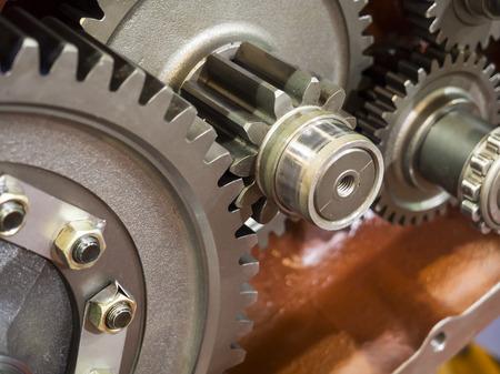 transmission: high precision automotive gear box close-up