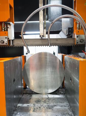 automatic machine: band saw cutting tool steel bar by automatic feed