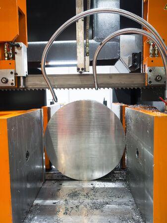 feed: band saw cutting tool steel bar by automatic feed