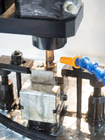 tool and die: operator use graphite EDM electrod to make precision mold and die
