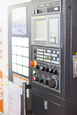 automated tooling: CNC Machine control panel closup