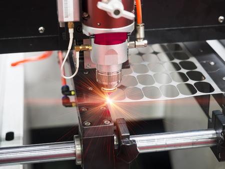 High precision CNC laser cutting metal sheet Imagens