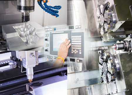 machining precision part by CNC machining machine Stock Photo