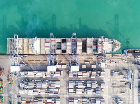 negocios internacionales: puertos del Mar del paisaje en tiempo del día, el puerto de envío, importación puerto, Mar Transporte, patio de contenedores, Tailandia puerto