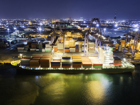 Landscape Sea ports on night time, Shipping seaport, Import seaport, Sea Transportation, Container yard, Thailand seaport, night time landscape