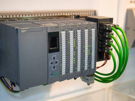 high technology Industrial Machine control by PLC programing logical control for manufacturing, The PLC Computer,PLC programable logic controler, Stockfoto