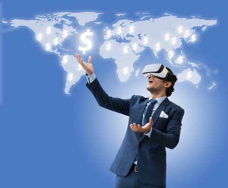 business man use VR virsual for future business and earn money form social media, Shock acting and VR use