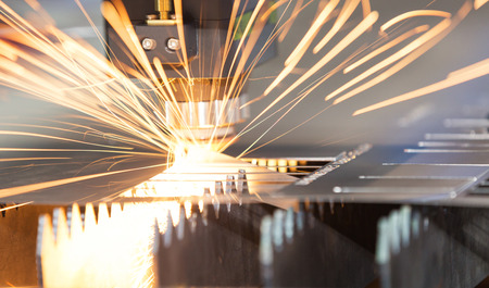 High precision CNC laser welding metal sheet, high speed cutting, laser welding, laser cutting technology, laser welding machine Stock Photo