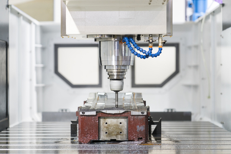 machining precision part by CNC machining center, High accuracy mold and die manufacturing by CNC high speed cutting machine 스톡 콘텐츠