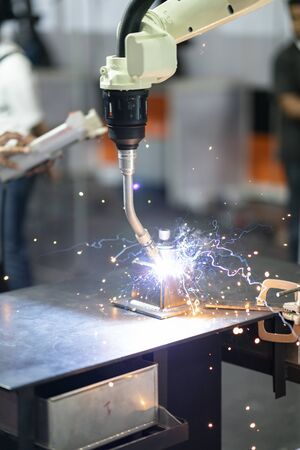 Welding precision part by mig welding process, high technology automatic mig welding, precision welding part 写真素材