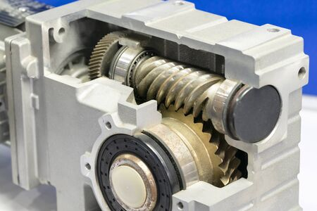 high precision automotive gear box close-up.Gear box for increase and reduce speed. precision gear box assembly with servo motor