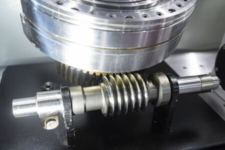 high precision automotive gear box close-up.Gear box for increase and reduce speed. precision gear box assembly with servo motor, rotary index