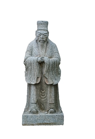 Statue of Confucius on white background photo