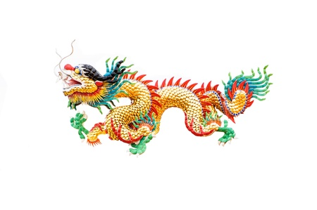 Colorful Dragon statue in Chinese style isolated on white