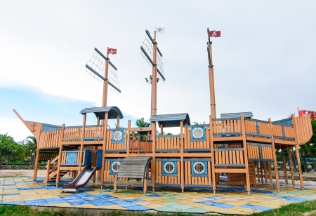 Playground without children with pirate ship