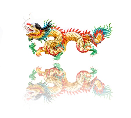 Colorful Dragon statue in Chinese style isolated on white and reflection photo